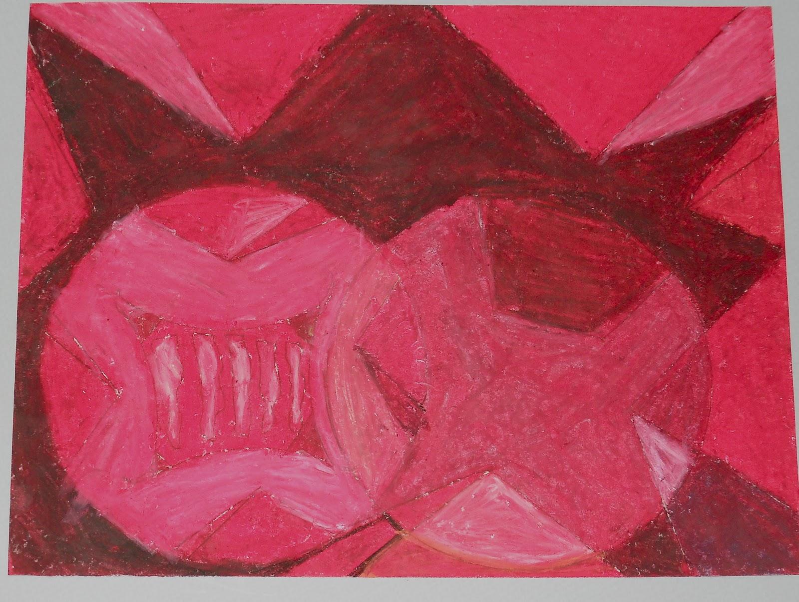 Non-Objective/Monochromatic Oil Pastels: 6th Grade