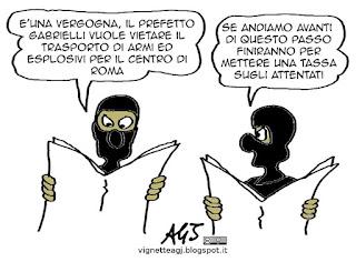 giubileo, armi, esplosivi, terrorismo, attentati, isis, Gabrielli, prefetto, vignetta satira