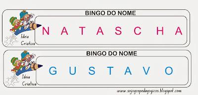 Jogo Pedagógico Bingo do Nome