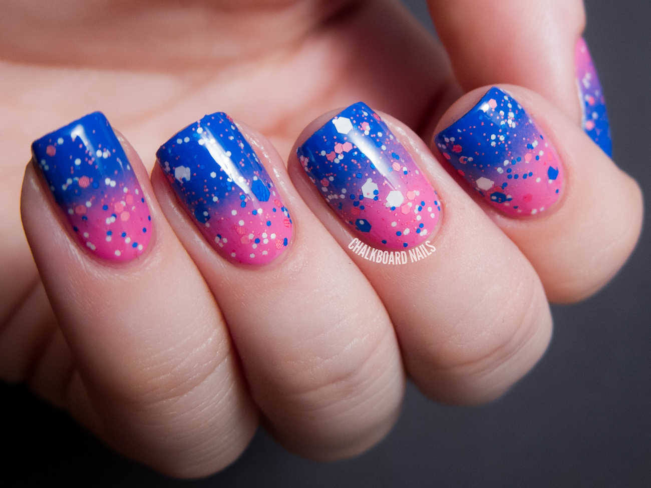 Double the Bubble: Pink and Blue Gradient and Glitter Combo ...