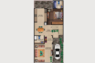 Czar Villas  :: Floor Plans,Type B:-Ground Floor1 Bedroom, 1 Living Room, 2 Toilet, Kitchen, Dining, Court Yard, Car Parking Area - 120 Sq. Yds. (1919 Sq. Ft.)