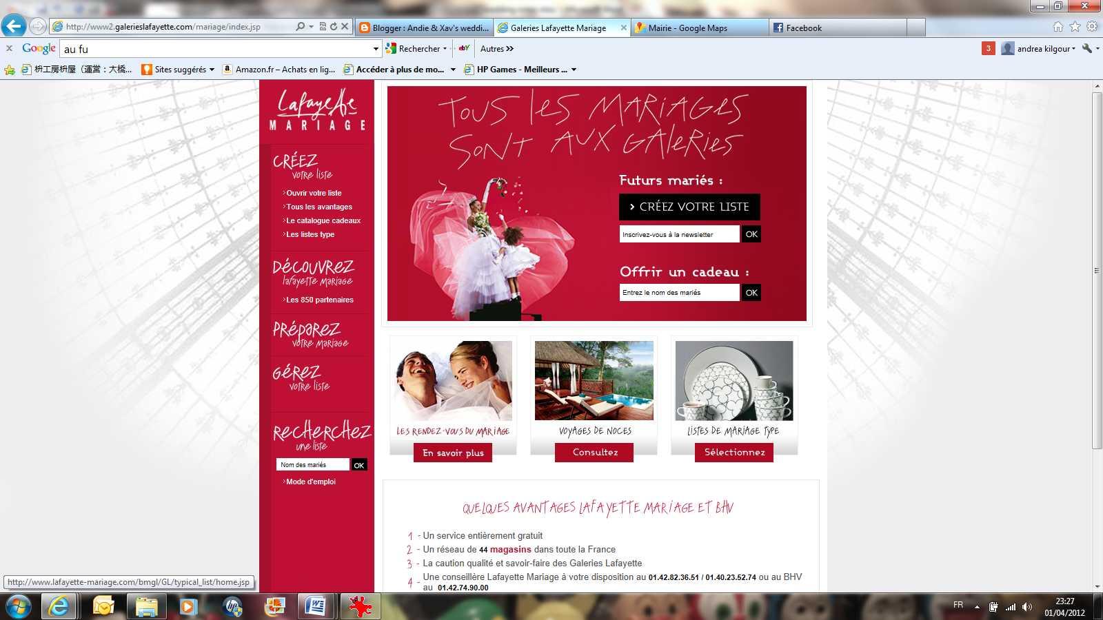 Andie xav 39 s wedding blog wedding registry notre liste de marriage - Liste de mariage galeries lafayettes ...