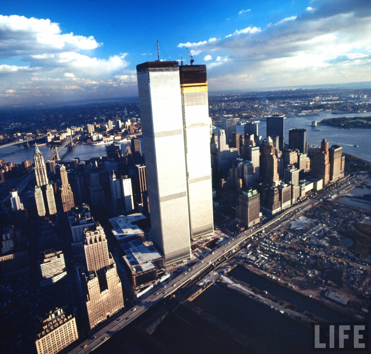 World Trade Center Construction : Shooting film wonderful aerial view of world trade center