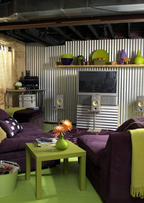 Corrugated metal wall panels for Orange and purple walls