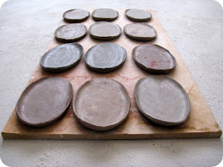 Fresh made clay shapes