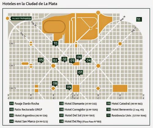 mapa dos hotéis de La Plata