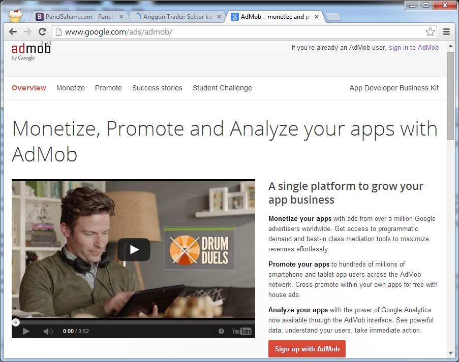 Tutorial Menampilkan Iklan AdMob di Aplikasi Android Tutorial Menampilkan Iklan AdMob di Aplikasi Android android admob 1