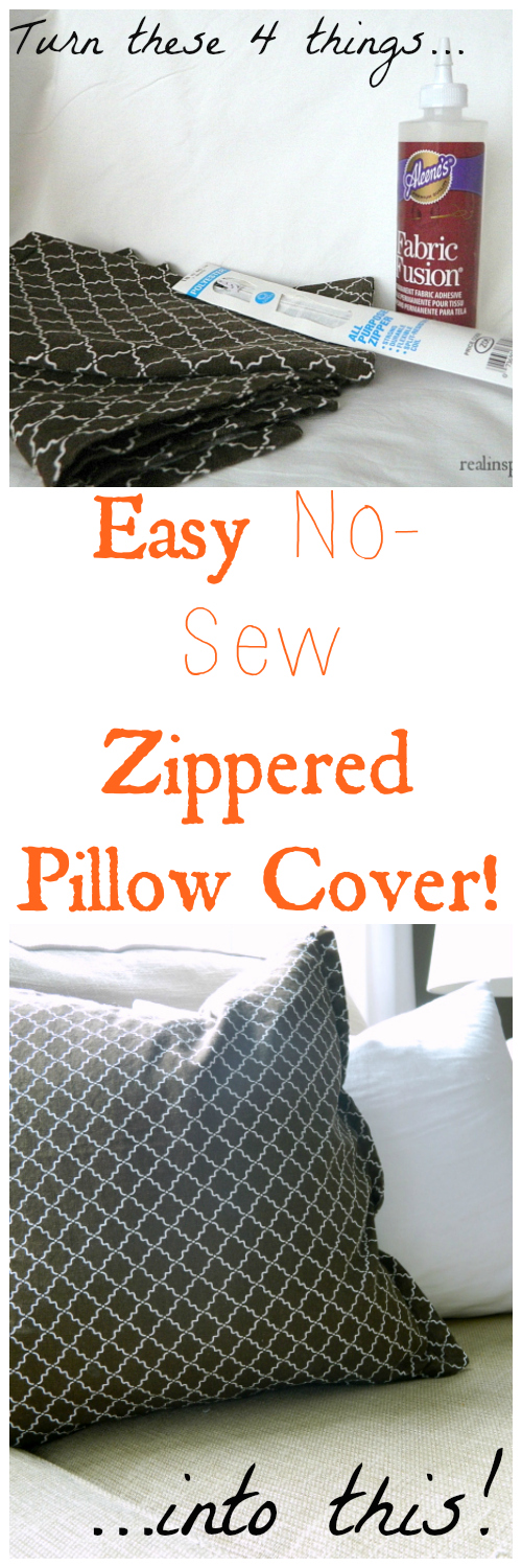DIY East No-Sew Zippered Pillow Cover