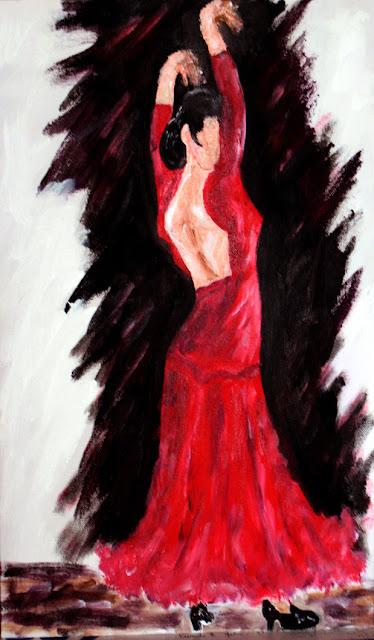 art de vivre la peinture de peintrefiguratif peinture acrylique serie danseur l 39 espagnole. Black Bedroom Furniture Sets. Home Design Ideas