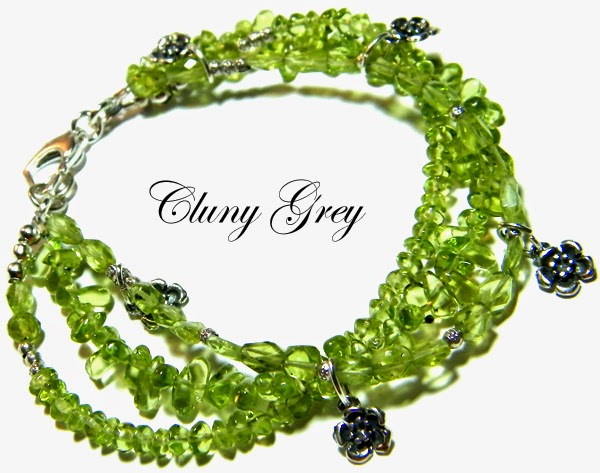 peridot bracelet with 3 strands of peridots and sterling