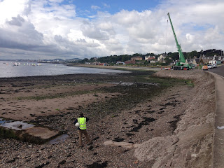 Scottish Water Engineer inspecting work to stem leaks adjacent to Douglas Terrace, Broughty Ferry