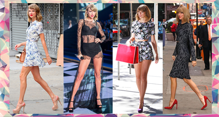 Taylor Swift shows of her style in crop tops and skirt and shorts and coordinated seperates on the stage and off duty as well