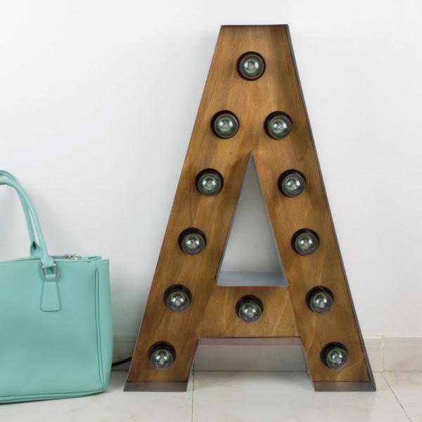 Letras con bombillas decorar tu casa es - Letras de hierro ...