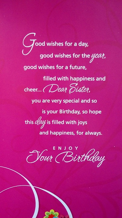 Happy Birthday Greetings Card For Sister Simplyherstyle