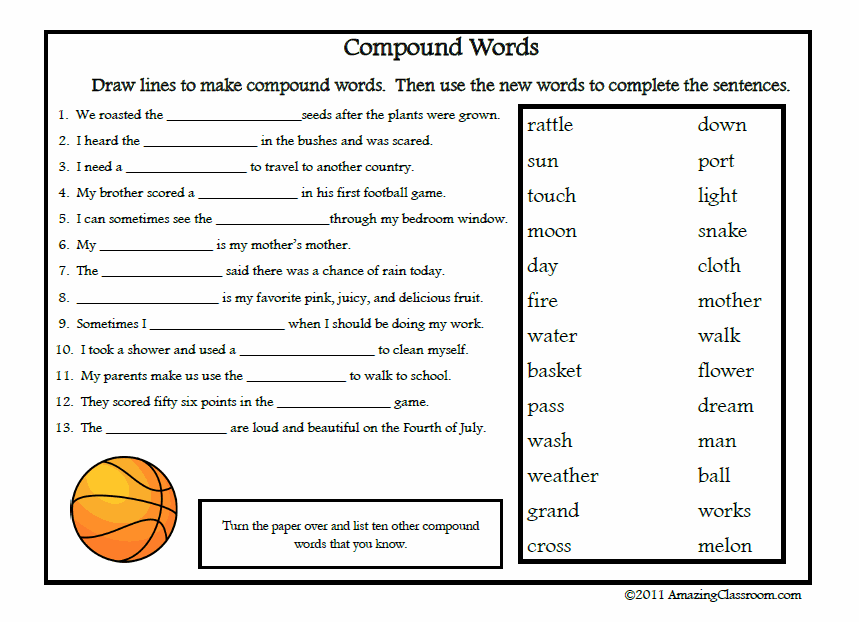 Printables Compound Words Worksheets 2nd Grade compound words worksheets 3rd grade scalien grade