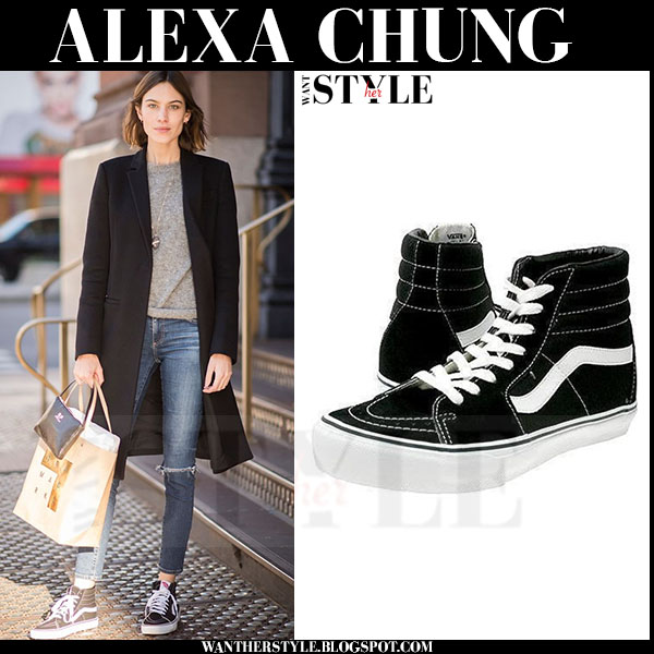 Alexa Chung in black canvas high top sneakers vans sk8 what she wore streetstyle