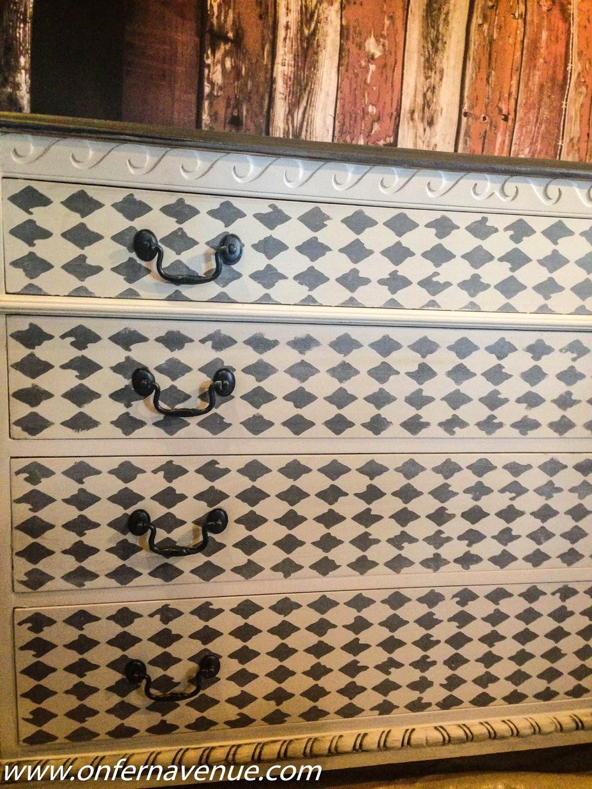 harlequin pattern dresser