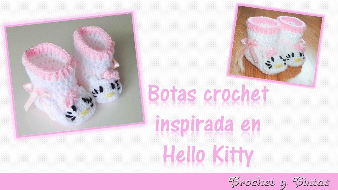 Botas – zapatos para bebés con aplique Hello Kitty tejidas a crochet ...