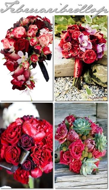 röda brudbuketter, brudbuketter alla hjärtans dag, brudbukett röda rosor
