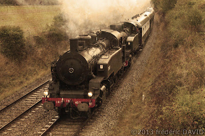 train vapeur double traction campagne circulation vintage locomotive 141 TB 407 AJECTA Seine-et-Marne