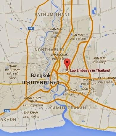 Bangkok'daki Laos Büyükelçiliği Haritası