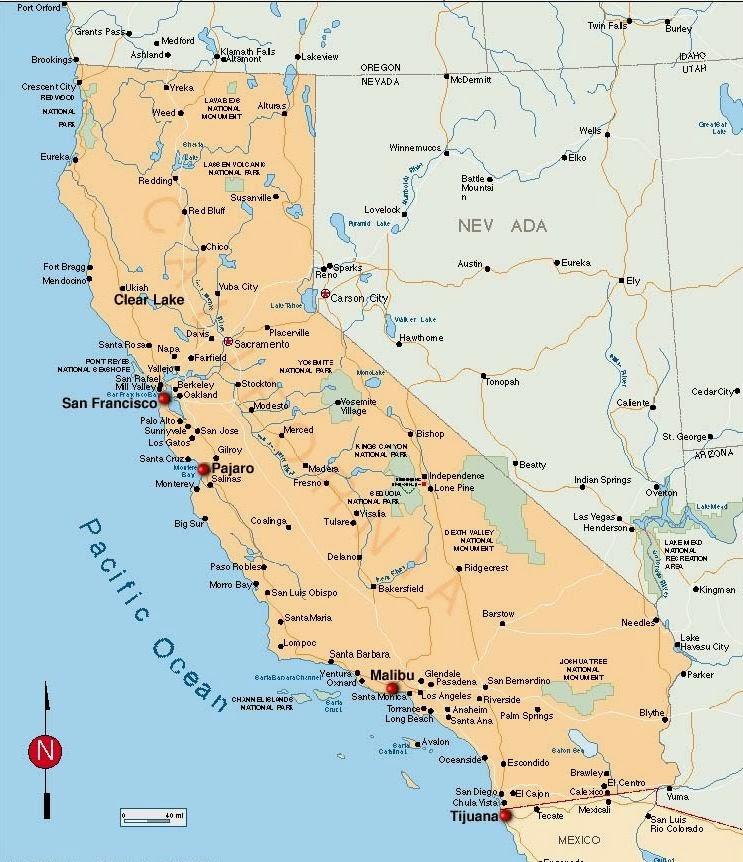 Mapa De California Usa Con Nombres - Mapa de california