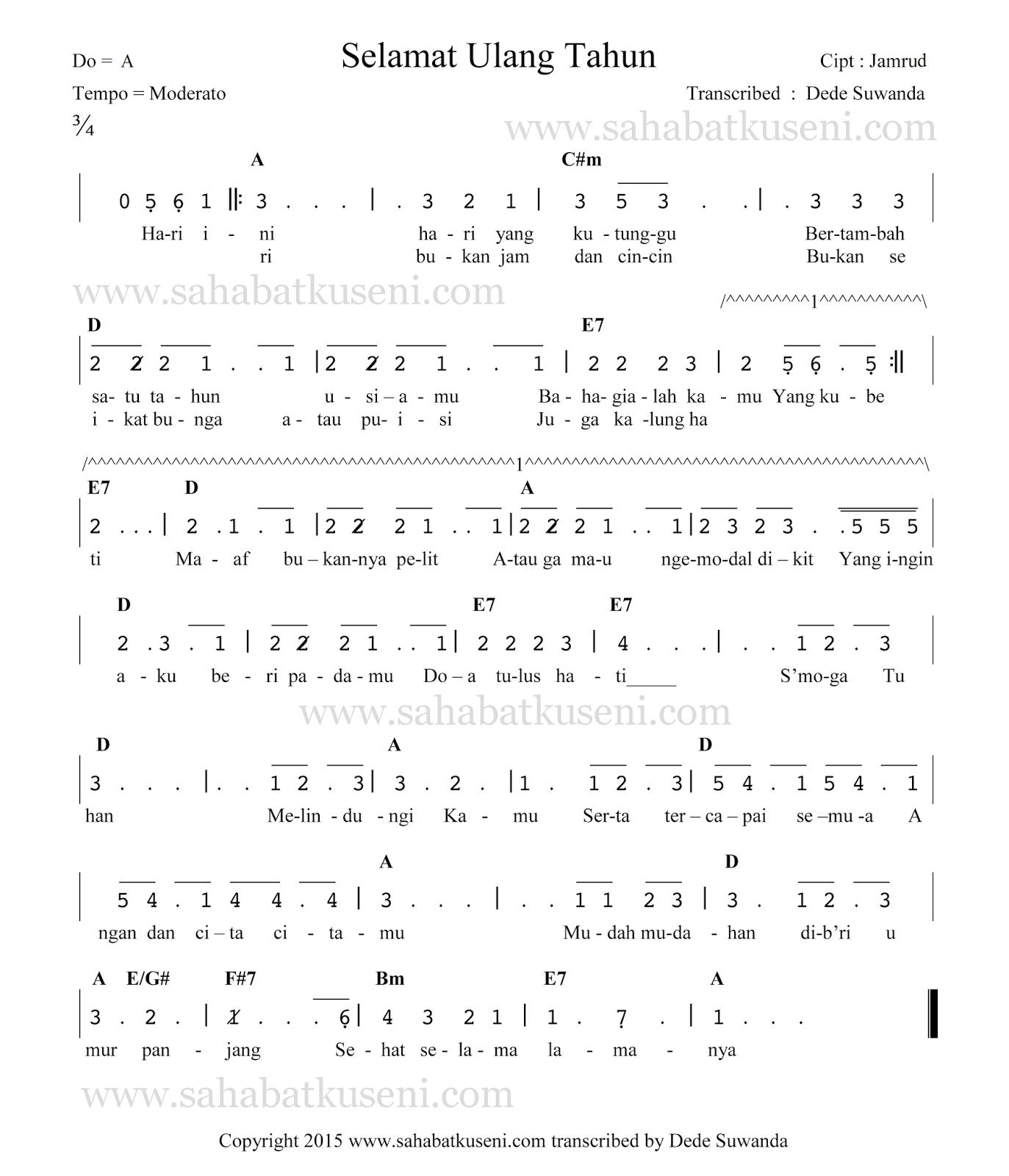 not angka lagu selamat ulang tahun band jamrud