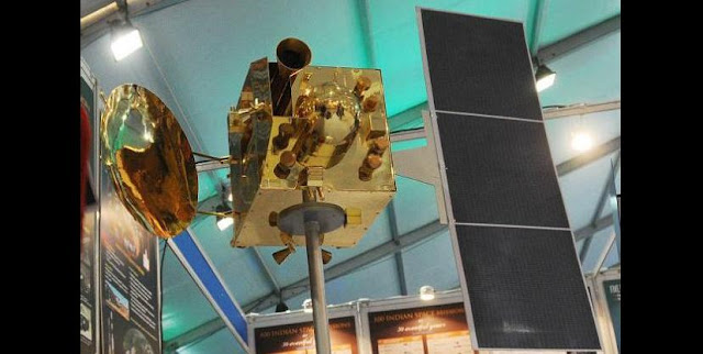 A replica of India's first spacecraft to Mars on display at the exhibition organised on the sidelines of the 100th Indian Science Congress at Kolkata. Photo: Arunangsu Roy Chowdhury