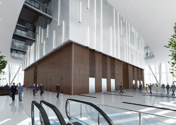 Rendering of the lobby at China Zun (CITIC Plaza) by TFP Farrells, Beijing, China