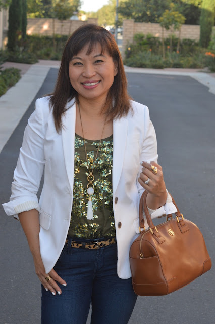 J Crew Thompson Blazer, J Crew Iridescent sequin tank, Tory Burch Middy Robions Satchel