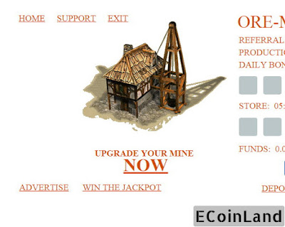 main page of free Bitcoin ore mine game