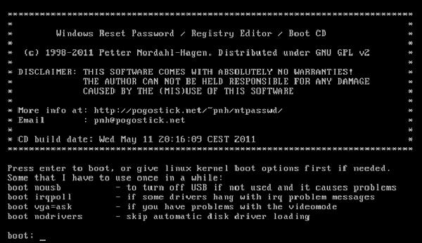 windows, window xp ,windows vista, windows8, windows7, programs, losing windows pass word, Offline NT Password and Registry Editor, download