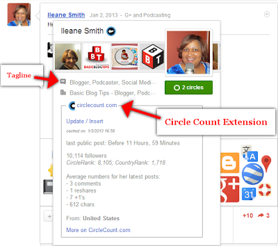 Google+ tagline and Circle Count Extension