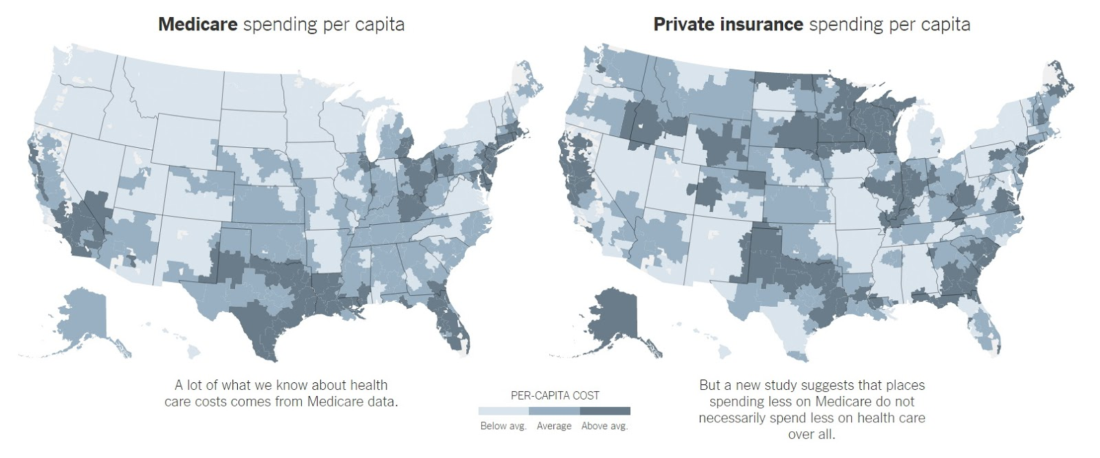 Medicare spending vs private Insurance spending per capita (2015)