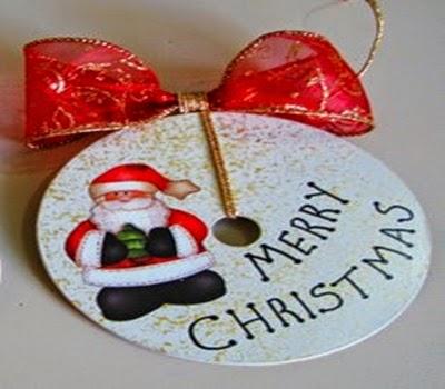 Adorno navideño con Cd´s reciclados