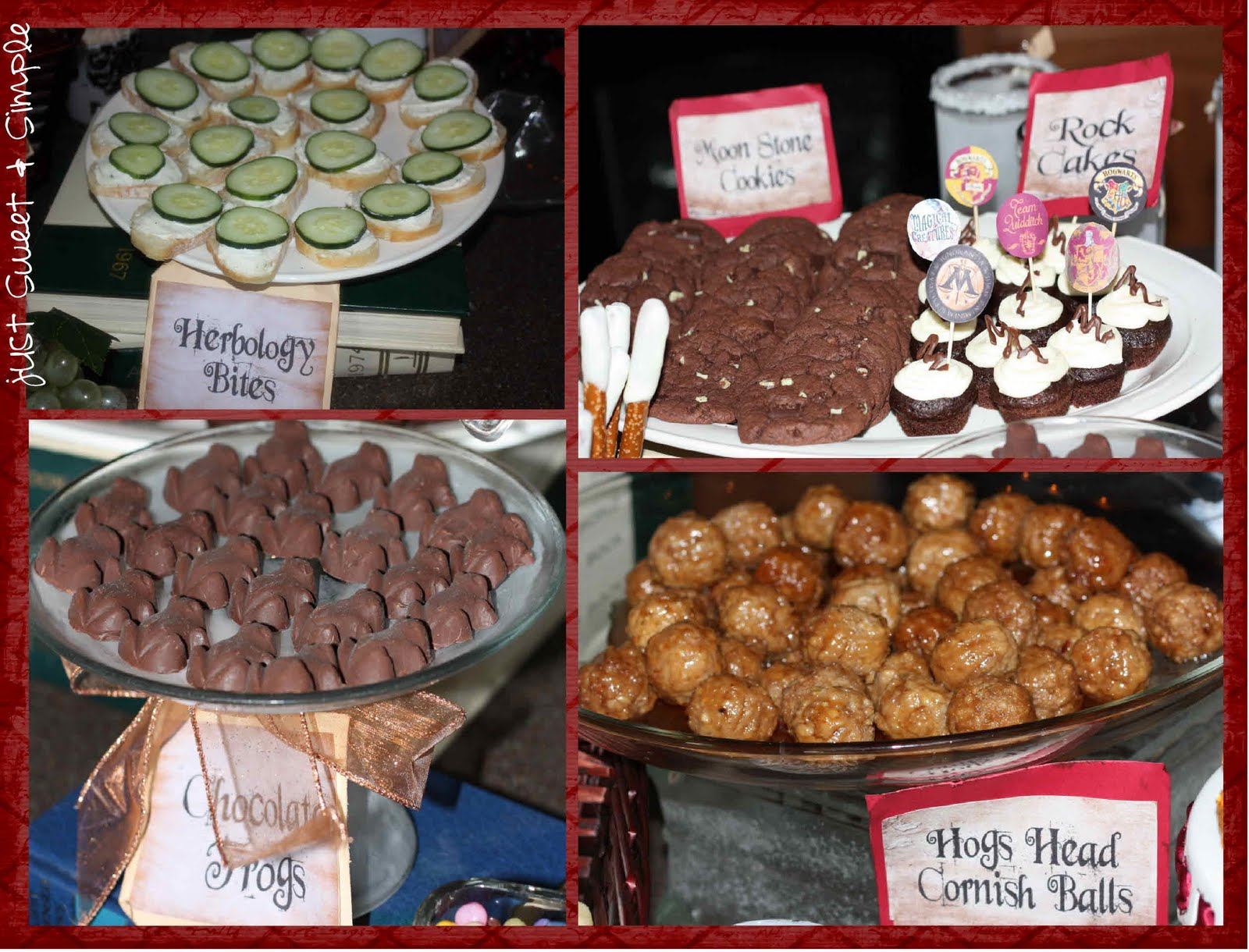 Just sweet and simple harry potter party herbology bites moon stone cookies rock cakes chocolate frogs hogs head cornish balls forumfinder Images