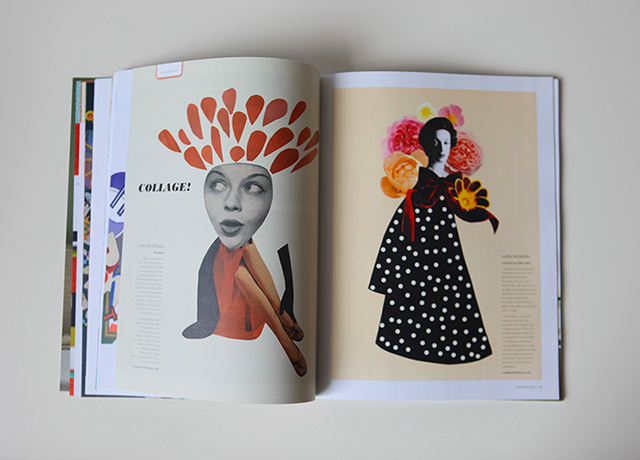 magazine with two collages, woman with shapes coming out of head and woman with polka dot cape with flowers