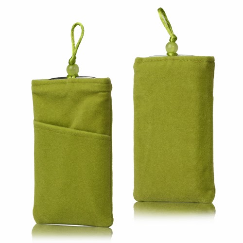 Universal Plush Pouch Bag with Button Closure for Samsung Galaxy S 3 III i9300 S 4 IV i9500 i9505, Size 13.8cm x 8.1cm - Green