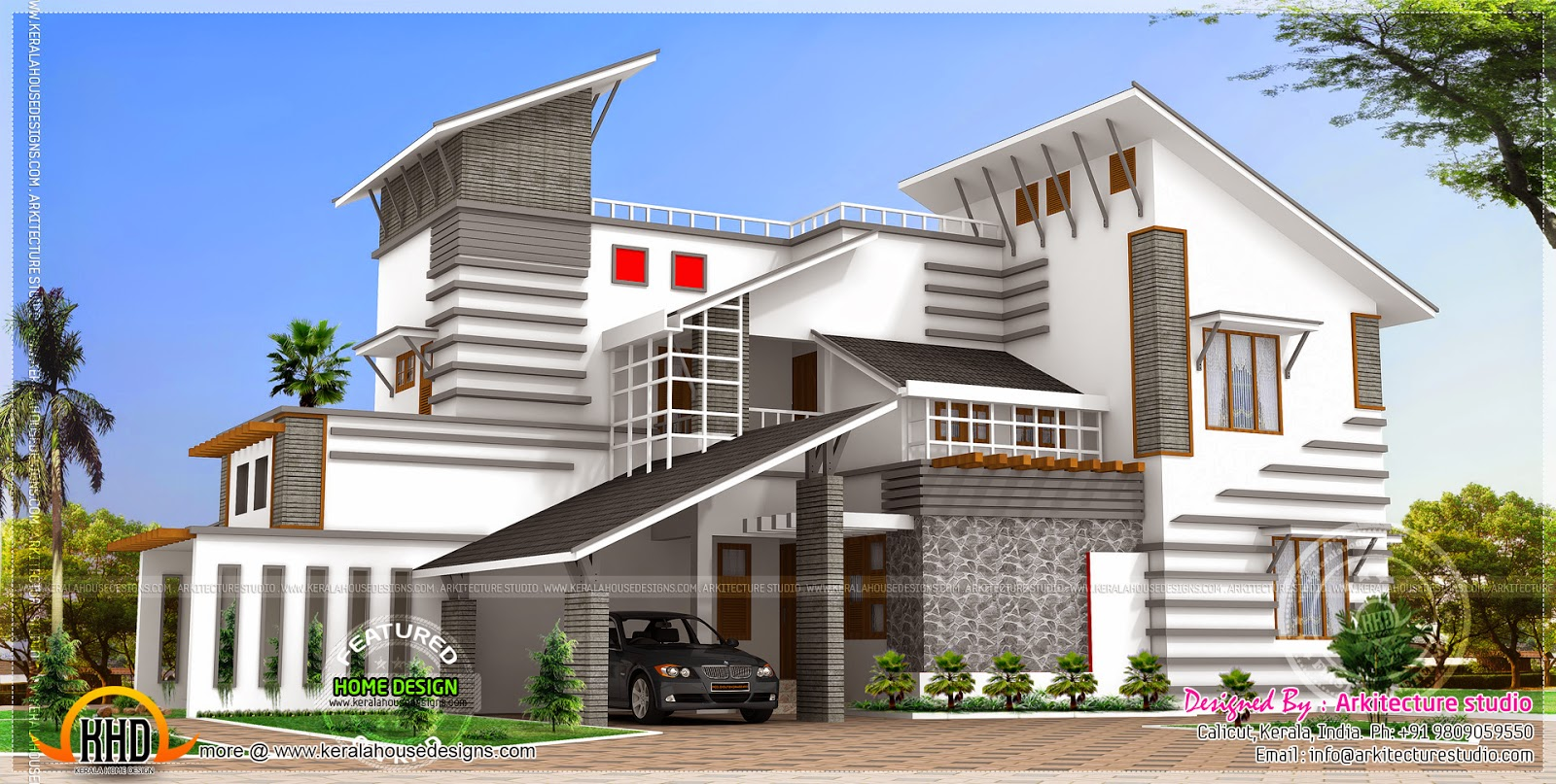 Contemporary style unique house kerala home design and Contemporary style house