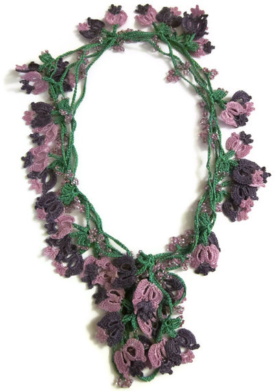 Hand Crocheted Floral Scarf Necklace purple dark purple ...