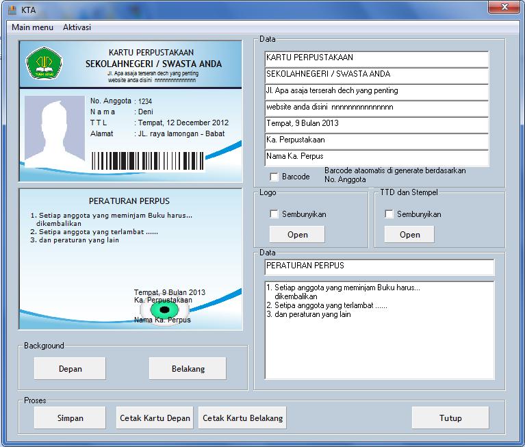 Software untuk membuat id card
