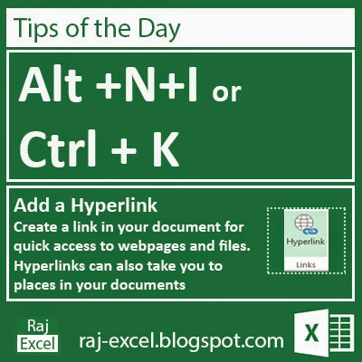 Alt + NI or Ctrl+K (Add a Hyperlink)