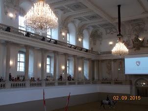 "Indoors ""SPANISH RIDING SCHOOL"" in Habsburg palace of  Vienna."