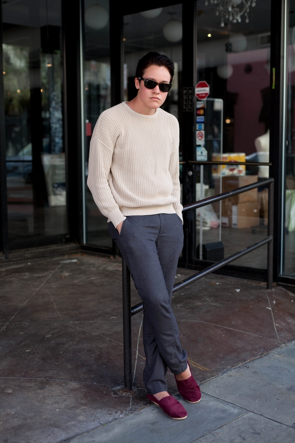 sweater raybans, slacks, toms, red shoes, men fashion, mens street style, guys in the south, Angel is awsesome