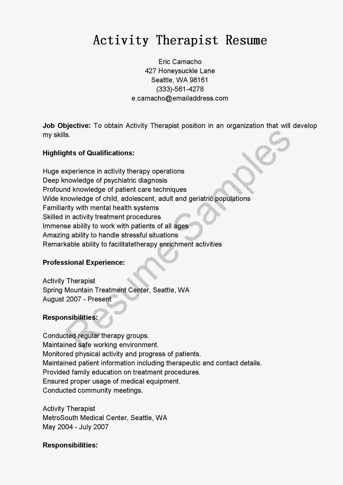 resume samples  activity therapist resume sample