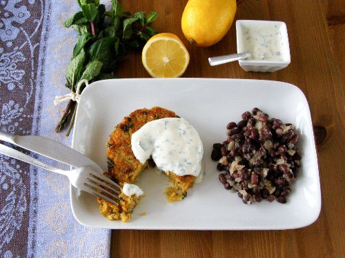 Spiced Quinoa and Sweet Potato Cake with Lemon Mint Yogurt and Black Bean Salad