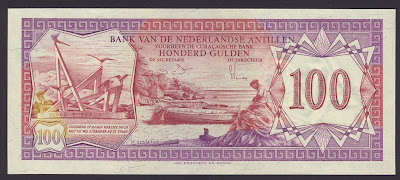 Netherlands Antilles currency 100 Gulden banknote