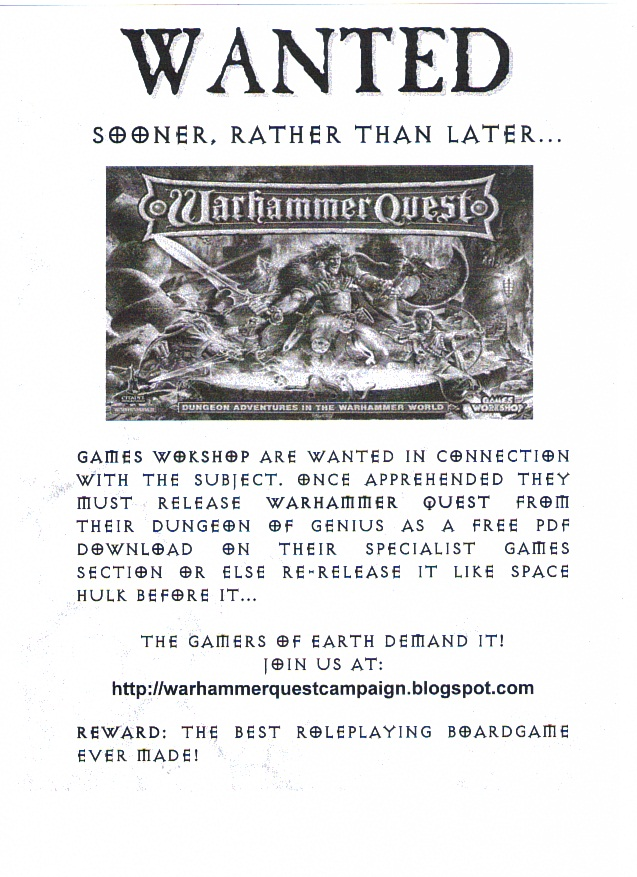 Save Warhammer Quest Campaign - Wanted! Poster