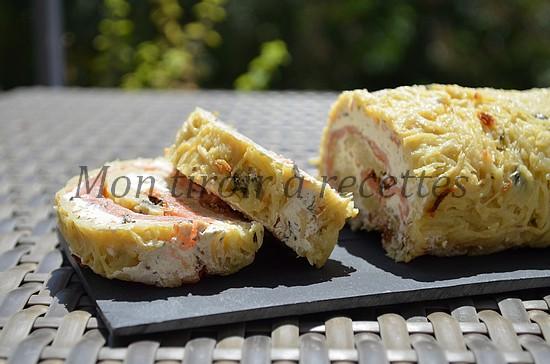 roulé pommes de terre saumon fumé