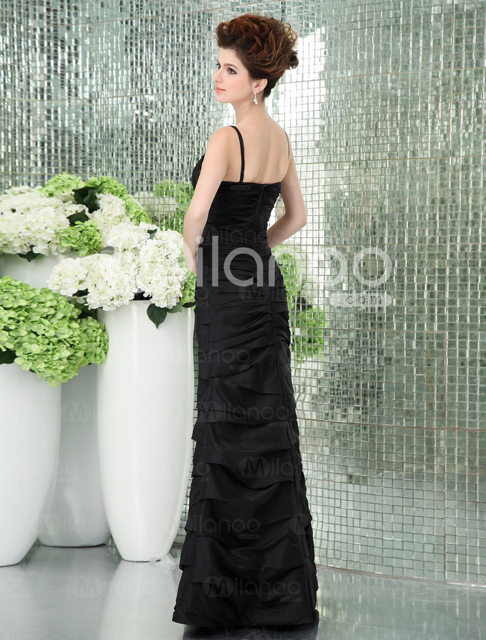 Slim Black étage taffetas Longueur sirène trompette robe de bal